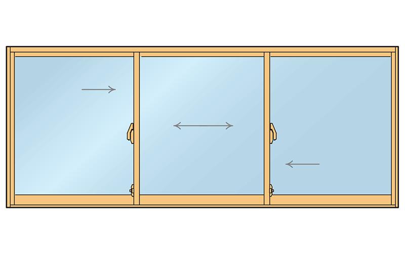 引き違い窓3枚引き