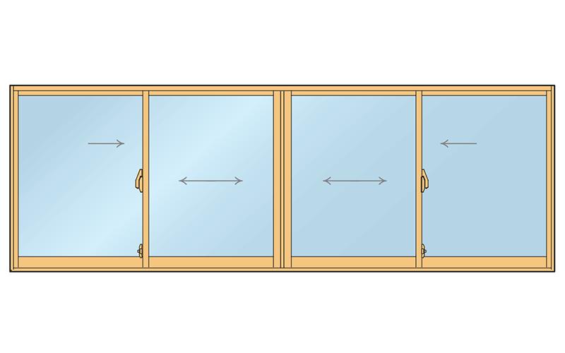引き違い窓4枚引き
