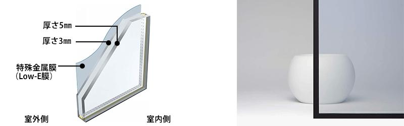 透明Low-E遮熱異厚複層ガラス